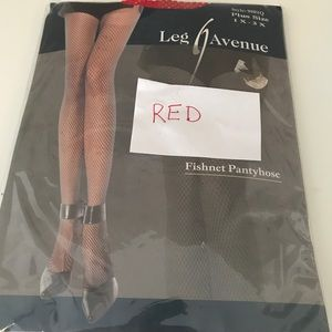 Plus Size Red  Fishnet Pantyhose